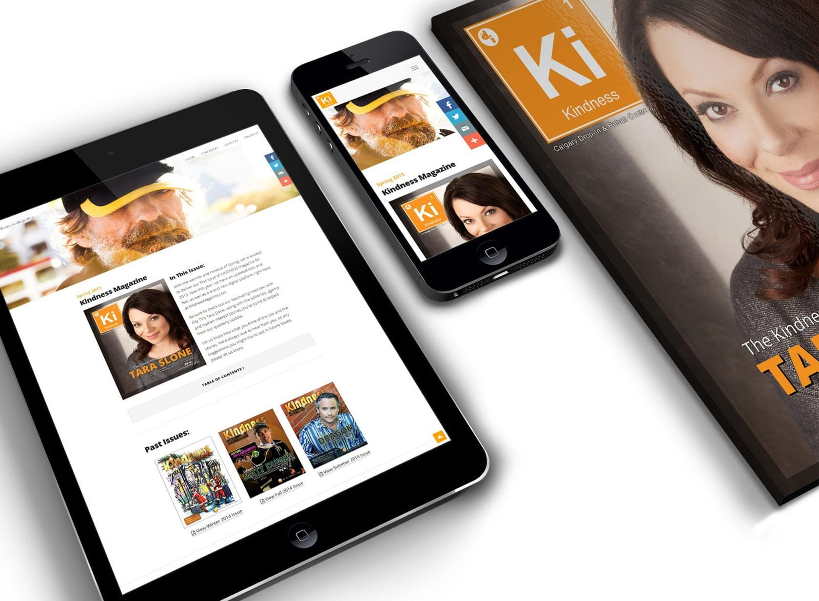 KM Project Image 01 - Newsletter Website Design - Magazine with Home Page, Mobile and Tablet Views